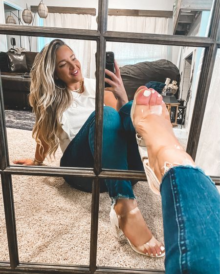 Mirror shoe challenge with @justfabonline 🌟Sitting here trying to channel my inner Carrie Bradshaw. 🤍 I am obsessed with these shoes be sure to go check them out, they are super comfy too! #justfabpartner  I notice that when I post mirror selfies y'all tend to relate more to them verses when I use my tripod and snap photos that way🤷🏼♀️ 🌟 Outfit deets: My top is @nordstrom it's from last year so I linked one similar My bottoms I linked a already distressed pair however these I distressed myself My shoes are @justfabonline size 7.5 they are the best of both worlds espadrille meets clear!  My necklaces are all from @baublebar  1️⃣ Download the @liketoknow.it app and follow me @ delaynadenaye 2️⃣ Screenshot my photos and open up the app — all product details will automatically pull up. http://liketk.it/2PQKg X #liketkit #LTKcurves #LTKsalealert #LTKunder50 #LTKunder100