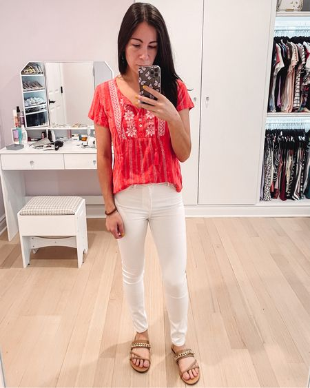 This entire outfit is new and on sale. Love the coral embroidered top for under $50 from Macy's, the white leggings jeans under $100 from Abercrombie, and the chain detail sandals under $25 from Amazon.   #LTKunder100 #LTKSeasonal #LTKshoecrush