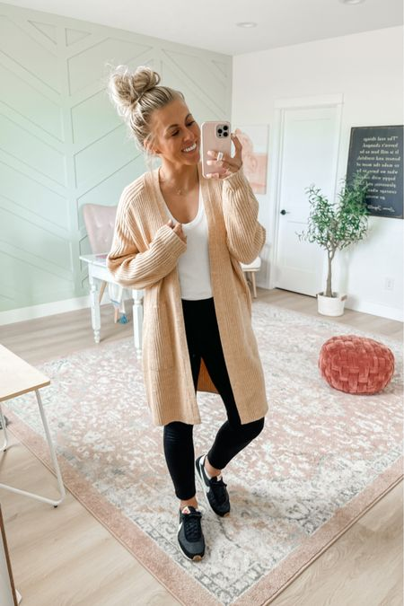 Women's duster cardigan in tan. Wearing size medium. $30 and comes in lots of colors  Also wearing the perfect pant leggings from Spanx. Wearing medium in these leggings. Use SARAHJOYxSPANX for 10% off and free shipping!