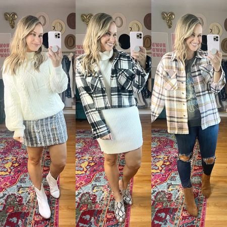 Booties, skirt and cropped shacket are all 40% off with code HATONTHEMAP  #LTKunder50 #LTKshoecrush #LTKsalealert