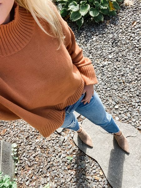Enjoying these fall like temps in New Hampshire today! Breaking in these new fall pieces 🍂I'm obsessed with the color of this sweater. I linked similar booties- the shape is amazing!   #fall #transitional #sweater #denim #kutfromthekloth #booties #fall #fallstyle #mom #momstyle #burntorange #ootd #newengland #boyfriendjeans  #LTKSeasonal #LTKstyletip #LTKunder100