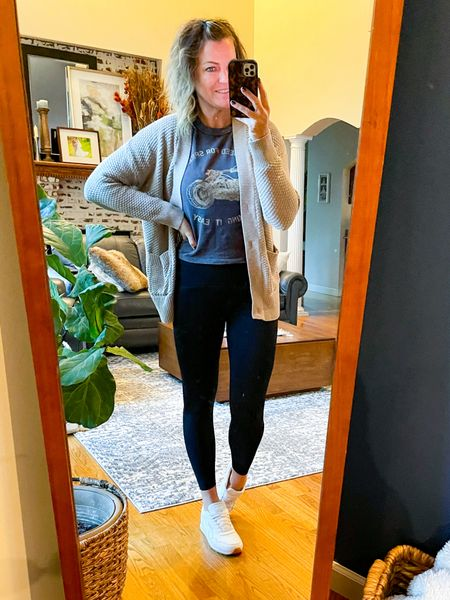 This cardigan is sold out in the color but still available in orange and a blue.   This graphic long sleeve tee is fitted and cropped. I sized up a size and could have sized up a couple. It is fine with high waisted bottoms.   These Spanx booty boost leggings are so good. They are great for working out and running errands. They are TTS. Use code Tuttlexspanx for 10% off plus free shipping     #LTKSeasonal #LTKsalealert #LTKfit