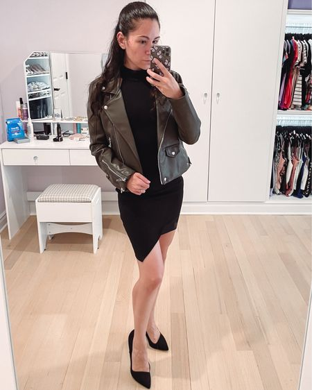Fall outfit inspiration if you need to get a little dressed up. There's a little black dress is so flattering and under $100. I have it with my olive green faux leather jacket and some suede heels here.  #LTKSeasonal #LTKunder100 #LTKwedding