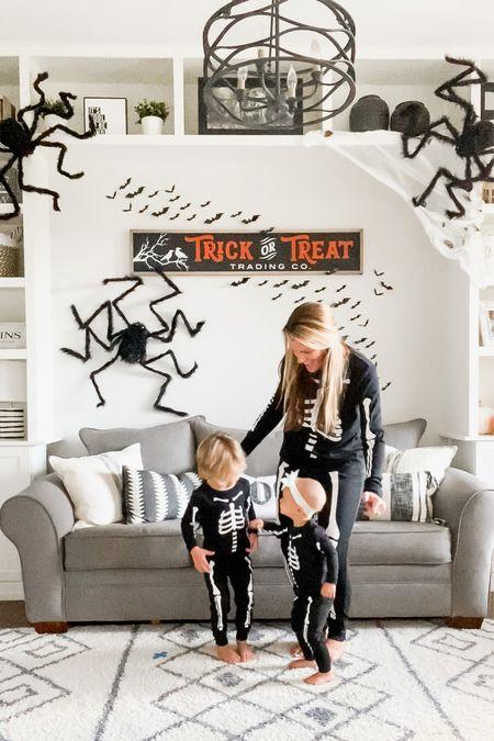 Halloween skeleton matching family pajamas jammies PJs seasonal fall decor skeletons bats spiders play room kids space kids room wall sign  #LTKhome #LTKSeasonal #LTKkids