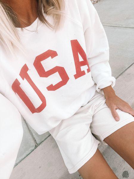 Usa sweatshirt, Fourth of July outfit inspo, American pride   #LTKunder50 #LTKstyletip #LTKSeasonal