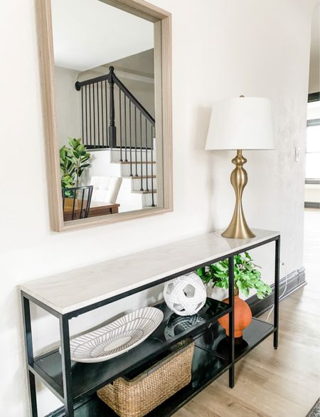 Console table styling done right!  Console table, accent table, wold mirror, shelf styling, home decor, accent furniture  #LTKhome