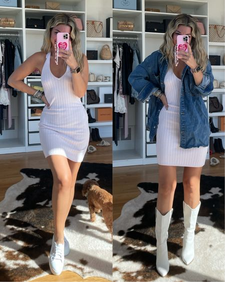 Abercrombie outfit jean shirt sweater dress cowboy boots superga sneakers transitional outfit ideas fall outfit ideas   #LTKunder50 #LTKSale #LTKSeasonal