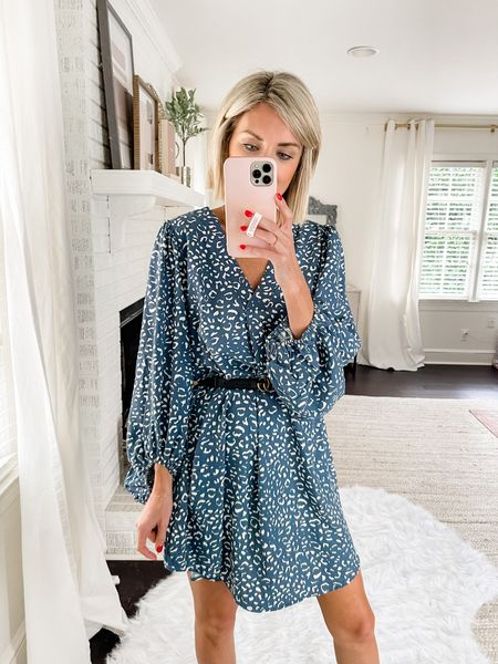 Added a belt to this blue leopard shirt dress to give it a more defined waist. This would be great for a date night or work wear option!   Code: loverly20 for 20% off!   #LTKstyletip #LTKworkwear #LTKunder100