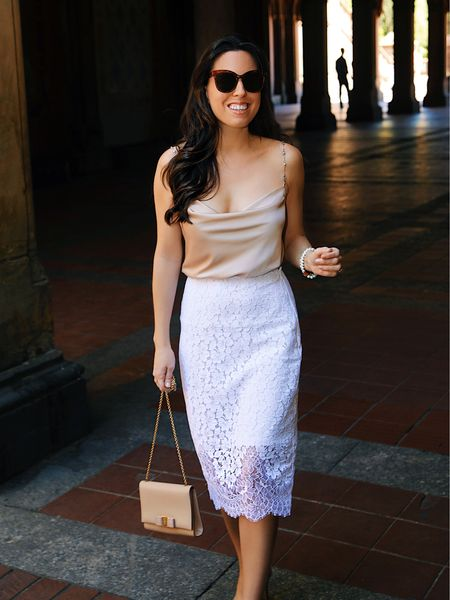 Cami in size S, pencil skirt in size 0, summer outfit, cocktail outfit, party outfit, white lace skirt, lace skirt, beige cami, Express skirt,     Follow my shop on the @shop.LTK app to shop this post and get my exclusive app-only content!  #liketkit  @shop.ltk   #LTKstyletip #LTKsalealert #LTKunder50