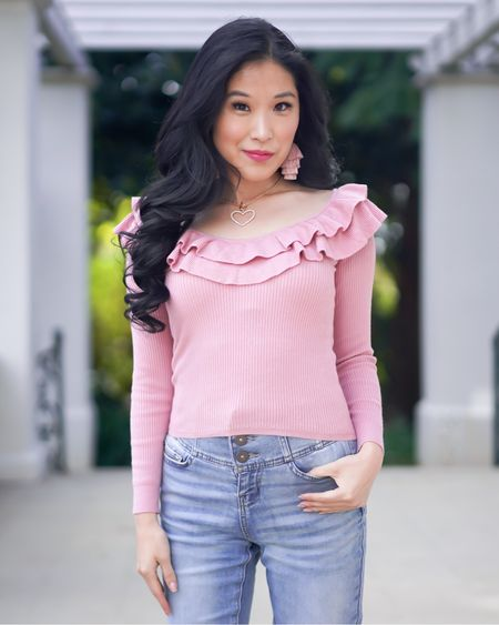Pink off the shoulder sweater style! Pair this pink sweater with pink tassel earrings, a heart necklace and button up blis jeans! Sale alert! http://liketk.it/38hzg #liketkit @liketoknow.it #LTKVDay  You can instantly shop all of my looks by following me on the LIKEtoKNOW.it shopping app