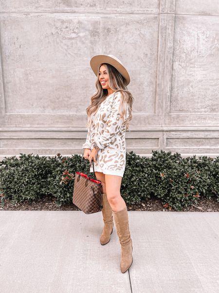 Fall outfit Sweater dress  Fall fashion Amazon fashion Knee boots   #LTKunder50 #LTKSeasonal #LTKbacktoschool