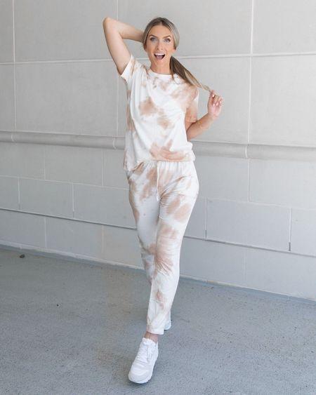 Comfy tie dye lounge set. Amazon fashion Amazon finds. White sneakers.   #LTKstyletip #LTKunder50 #LTKshoecrush