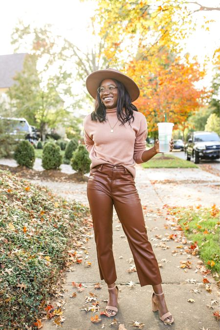 September fall style, brown vegan leather pants under $100 and other fall style trends    #LTKworkwear #LTKunder100 #LTKstyletip