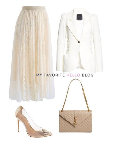 Tulle skirt work outfit. Tulle skirt with white blazer. Tulle skirt outfit work. http://liketk.it/3gcXI #liketkit @liketoknow.it #workoutfit #tulleskirt #whiteblazer  #LTKitbag #LTKshoecrush #LTKworkwear