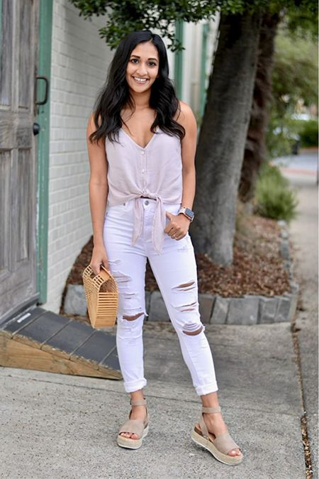 Amazon summer outfit idea! Lightweight linen tank with white distressed denim and espadrilles! Wearing size xx-small in the MakeMeChic Women's Casual V Neck Button Self Tie Front Crop Cami Tops Camisole.   #LTKstyletip #LTKunder50 #LTKunder100