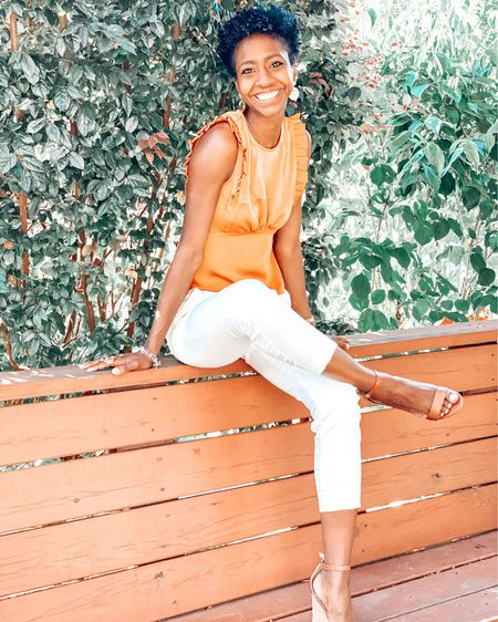 Summer wedges make me smile! | yellow | white denim | white skinny leg denim | natural wedges | summer shoes | rattan bag | rattan purse | express | summer look | summer outfit http://liketk.it/2Qm6o #liketkit @liketoknow.it #LTKstyletip #LTKshoecrush #LTKitbag