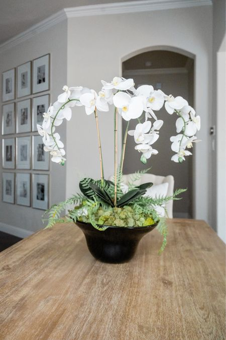 The bowl is from Home Goods!   Orchid arrangement, DIY centerpiece, moss bowl, kitchen decor, coffee table decor, living room, entryway table, console table, entry decor, home decor, gallery frame, gallery wall    #LTKhome