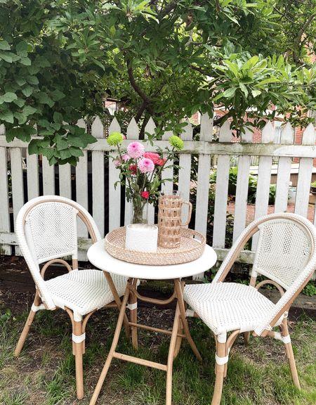 outdoor bistro set up, spring and summer backyard inspo, pretty patio, homegoods, tjmaxx, target finds, neutral decor   #LTKhome #LTKunder50 #LTKSeasonal