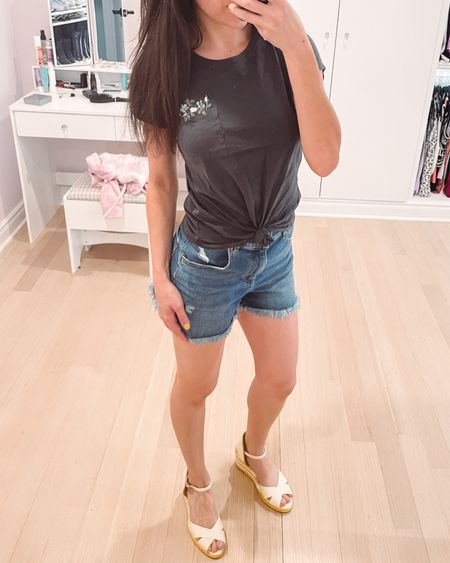 Yesterday's outfit: a cute embroidered tee from Abercrombie; comes with the knot tied but it's a normal length top if you untie. Express high waisted mom shorts and striped yellow wedges from Stuart Weitzman to round out the look. Top under $20, shorts under $50, shoes under $100.   #LTKshoecrush #LTKSeasonal #LTKunder100