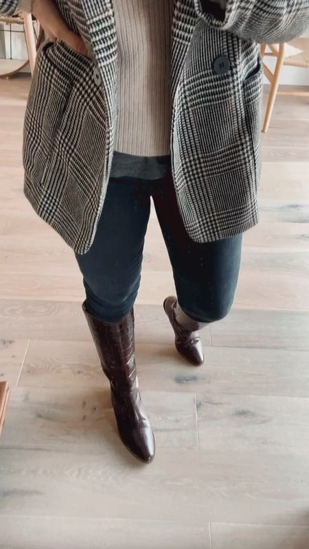Checked blazer & mock crock boots  #LTKstyletip #LTKshoecrush #LTKworkwear