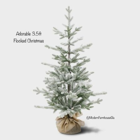 Adorable 3 1/2 foot unlit flocked Christmas tree. Balsam fir artificial tree. Modern farmhouse glam Christmas decorations  #LTKhome #LTKSeasonal #LTKHoliday