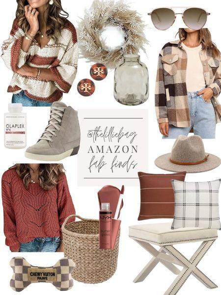 Amazon finds. Fall hues. Amazon fashion. Sweaters. Shacket. Plaid. Fall wreath. Basket.   #LTKsalealert #LTKunder100 #LTKhome