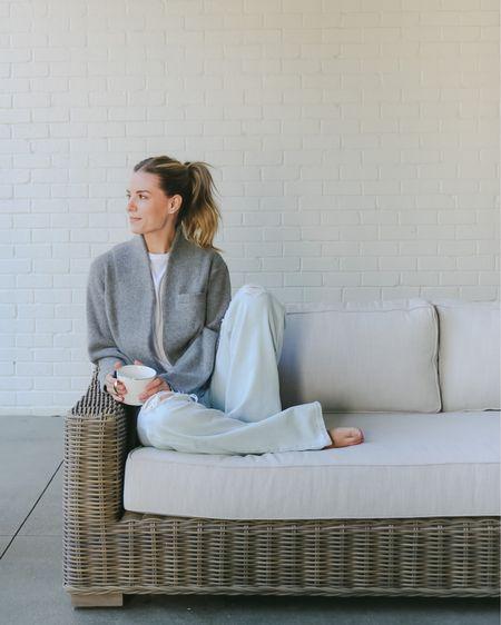 Morning coffee  Sweater blazer Outdoor sofa   #LTKhome