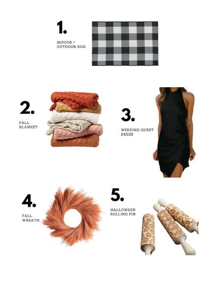 Last weeks faves! Indoor/outdoor rug used under mat - fall throw blankets - wedding guest dress - fall wreath - Halloween rolling pin   #LTKwedding #LTKhome #LTKSeasonal