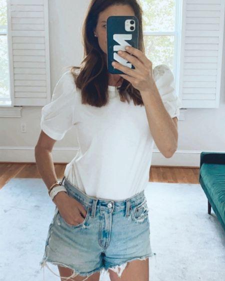 LTK day sale, white tee shirt, puff sleeve t, denim shorts, finding beauty mom, Kellie Nasser http://liketk.it/3hzCF #liketkit @liketoknow.it #LTKunder100 #LTKstyletip #LTKsalealert