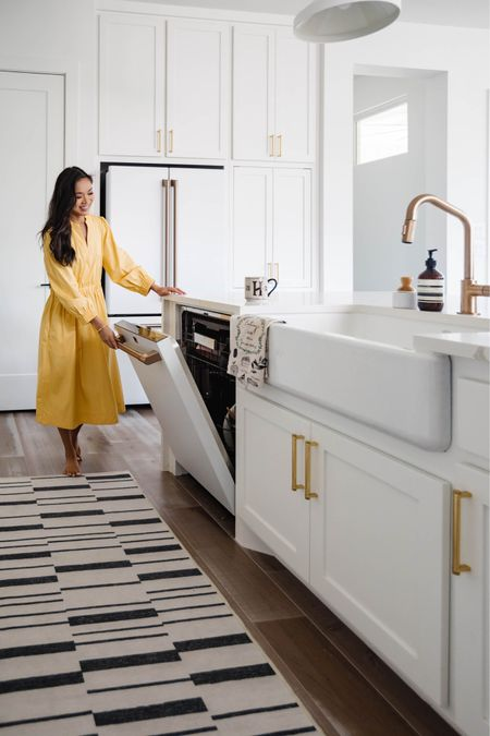 White kitchen decor and our newly installed dishwasher! Love how this is white and fingerprint resistant. Also linking our washable kitchen runner, brass cabinet hardware, brass faucet, hand soap and dish brush we love.   #LTKstyletip #LTKhome