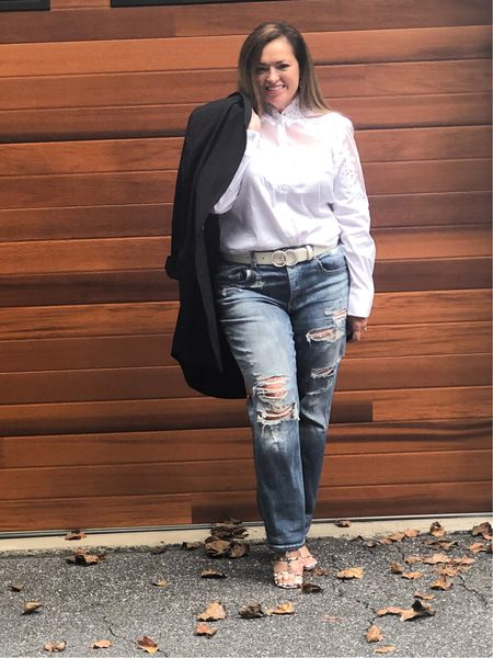 My beautiful bridal white blouse styled casually elegant.. I love the juxtaposition of feminine elegance paired with the ruggedness of distressed denim.. I added my over sized pin stripe blazer for good measure. #gifted @whbm  #LTKstyletip #LTKGiftGuide #LTKcurves