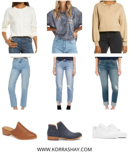 3 super fun outfits for different occasions during spring 2021!  ✨✨✨✨✨✨ Spring outfits, spring look, spring trends, spring fashion , jeans, ripped jeans, spring jeans, spring mules, black booties, white sneakers, spring sneakers, graphic t-shirt, madewell top  #LTKSeasonal #LTKstyletip #LTKunder100