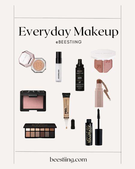 Everyday makeup staples for a quick face: Primer, tinted moisturizer, brows, blush, concealer, light contour & eyeshadow, mascara & highlight.  #LTKbeauty #LTKunder50