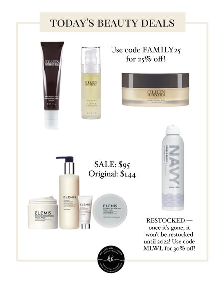 Huge beauty sale ❤️ Use code FAMILY25 for 25% off Colleen Rothschild products! My favorite dry shampoo just RESTOCKED — one it's honestly, it won't be restocked until 2022. Use code MLWL for 30% off!  #LTKHoliday #LTKsalealert #LTKbeauty