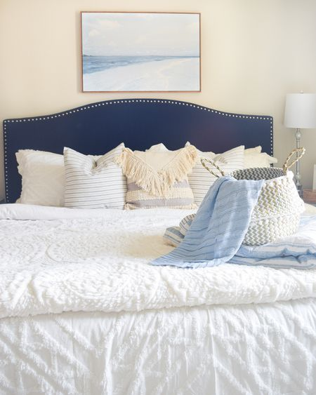 New guest bedroom bedding and decor from @walmart  . . Bedroom decor, home decor, bedding, pillows, blankets, baskets, lamp, wall decor, home accents, table decor   #LTKhome #LTKunder50 #LTKunder100