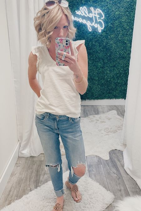 I pretty much live in @boutiqueonthirty clothes, but when I need a basic piece for a steal, I always go to Target!!  How cute is this ruffle sleeve tank!!!  Found this for only $12.99!?!  I paired it with my favorite (who am I kidding only) non-skinny jean from KanCan and my favorite Millers!  Shop your screenshot of this pic with the LIKEtoKNOW.it shopping app http://liketk.it/3fx8U #liketkit @liketoknow.it @nordstrom @kancanusa @targetstyle @target @torybirch #LTKunder100 #LTKstyletip #LTKshoecrush