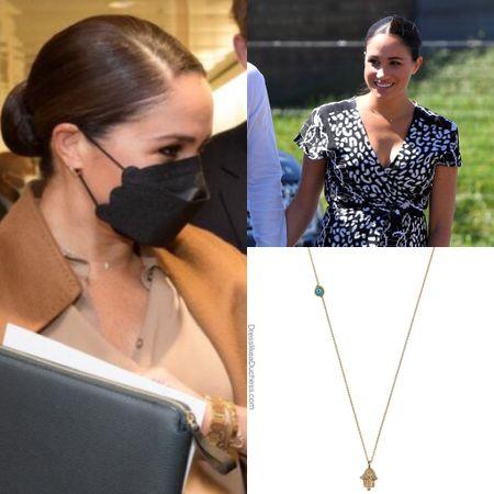 Meghan wearing her Alemdara Hamsa necklace #jewelry ID what Meghan Wore