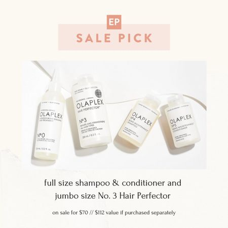 Olaplex gift set // QVC daily deal  extra $10 off a first purchase with code Hello10 or Holiday   Full size Olaplex shampoo and conditioner plus a jumbo size of the No. 3 hair perfector for $70 ($60 with code // normally $112 if purchase separately)  #LTKunder100 #LTKsalealert #LTKbeauty