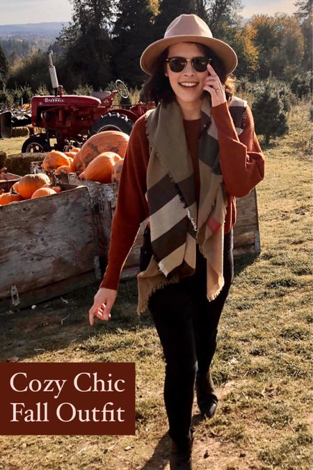 Cozy chic fall outfit with a rust colored sweater, a Burberry scarf, a tan fedora, and black skinny jeans. Similar options are linked! @liketoknow.it http://liketk.it/2ZUE0 #liketkit #LTKstyletip #FallFashion #FallOutfit #FallStyle #PumpkinPatch #Fedora #Cozy #CasualChic