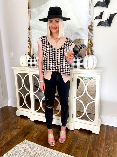 Fall fashion, checkered vest, Fall style, Halloween decor, glitter bats