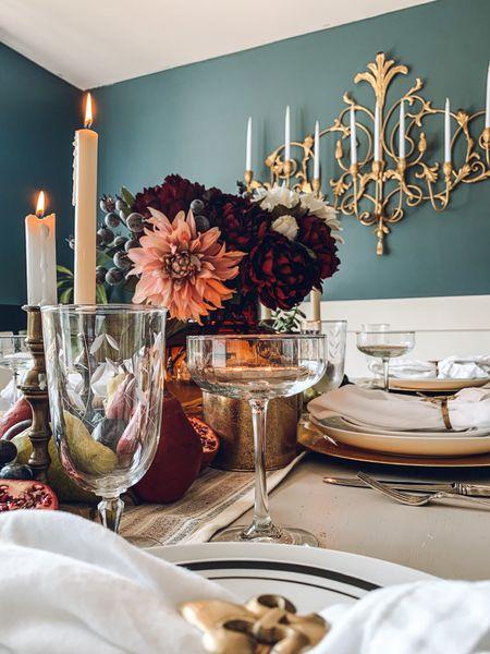 #thanksgiving #tablescape #falltablescape #falldecor #thanksgiving #floralarrangement #candles #vintage  #LTKHoliday #LTKSeasonal #LTKhome