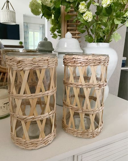 So in love with these ($10!!) tall hurricane glasses! Put a big candle in them for tabletop decor or fill with flowers and use as a vase! Home decor, rattan, kitchen decor @liketoknow.it #liketkit http://liketk.it/3g3Gr #LTKunder50 #LTKhome #LTKsalealert