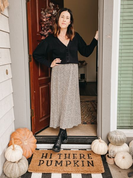 Styling the Irene cardigan from @able  Use code ARTINTHEFIND20 for 20% off  - fits true to size  Dress @jennikayne size down Shoes- Madewell Lugg boot - true to size    #LTKstyletip #LTKHoliday #LTKSeasonal