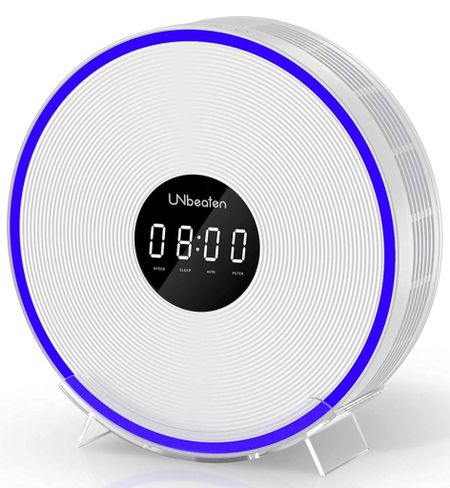 Amazon find Amazon find UNbeaten Air Purifiers for Home Bedroom with H13 True HEPA Filters, Clock with Night Light, Space up to 200 Sq Ft, Reduce Dust Smoke Pollen for Office, Ferris 360 White  #LTKhome #LTKkids #LTKfamily