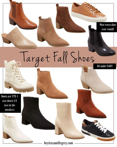 Target Fall Shoes - chelsea boots, ankle booties, combat boots and sneakers! I wear my normal size in all the shoes except the sneakers - I size down 1/2 size in those. Loving the cognac, caramel, suede, cream and black colors for fall!  #LTKunder50 #LTKshoecrush #LTKstyletip