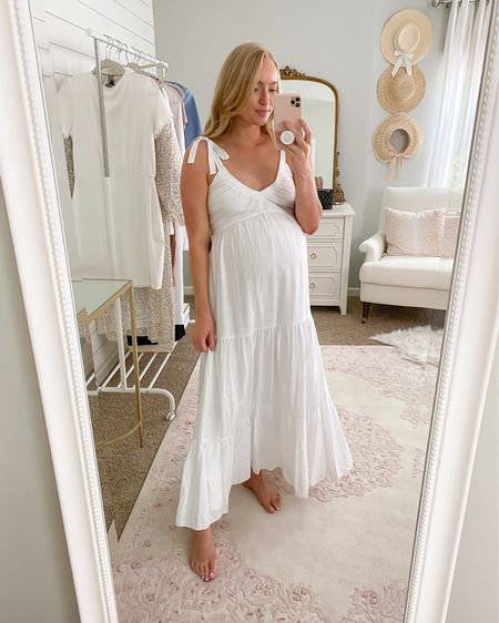 Gorgeous summer white dress on sale for LTK DAY! It has such a good fit in the chest with adjustable tie straps. I sized up to a medium for the bump and I'm wearing it with nippies underneath    http://liketk.it/3hiYH #liketkit @liketoknow.it #LTKDay #LTKbump #LTKsalealert  white dress // white maxi dress