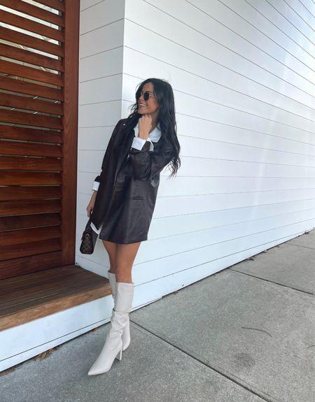 Leather blazer fit   #LTKSeasonal #LTKunder50 #LTKstyletip