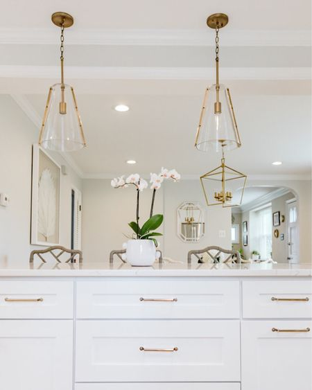 """Kitchen lighting can make or break a room. I just love my large pendant lights. I personally prefer two bigger pendants over three small ones. Always hang pendants 30""""-36"""" above counter tops. But as always do what looks best for your size island etc.   http://liketk.it/2TS14 #liketkit @liketoknow.it #StayHomeWithLTK"""