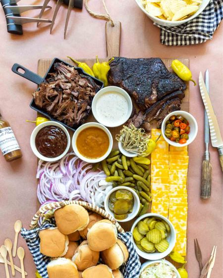 There's nothing like a backyard barbecue as the weather warms up for the season. This brisket board has been one of my favorites!  http://liketk.it/3dqnm #liketkit @liketoknow.it #LTKhome #LTKfamily #LTKunder50 entertaining idea party platter meat claws gingham napkin cheese board charcuterie board ramekin Father's Day idea cast iron pan