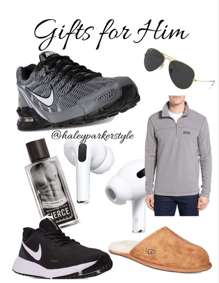 Gifts for Him  Holiday gift guide, Patagonia, men's pullover, men's sunglasses ray ban, men's slippers, men's Nike shoes, gift guide, airpods   #LTKmens #LTKunder100 #LTKgiftspo